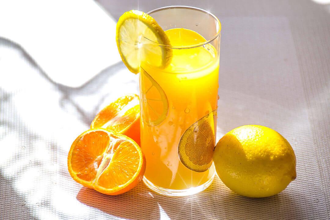 aroma beverage with lemon and orange