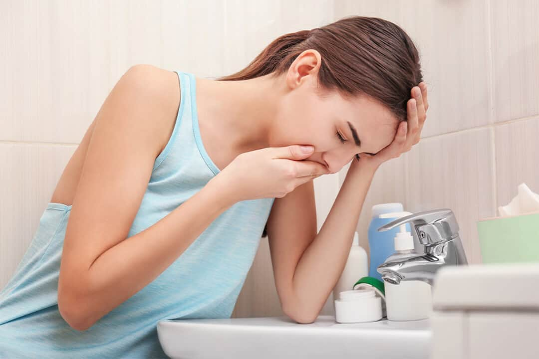 Pregnant woman feeling sick and nausea
